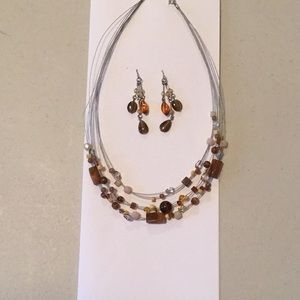 Necklace and Earring Set, brown tones
